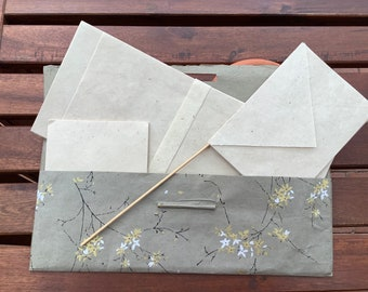fine and noble STATIONERY LOKTA PAPER Set FLOWER BRANCHES pearl grey/gold/silver 15sheets 10Converts