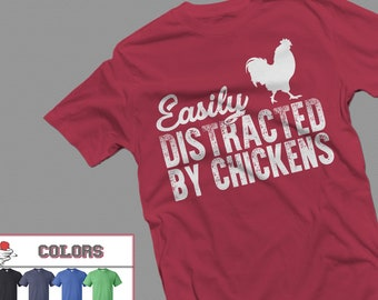 f9dc6470 Chicken shirt, Easily Distracted By Chickens Tshirt for Women Men, Chicken  Gifts for Farmer, Farming shirt, Farmer Shirt, Farm Tshirt