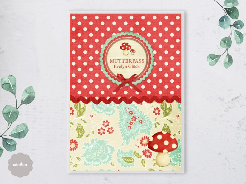 Retro 3-piece mother pass sleeve with mushroom and dots