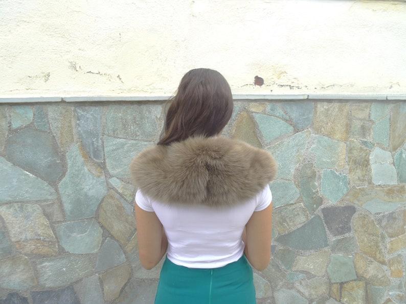 Brown fox fur collar real fox fur collar