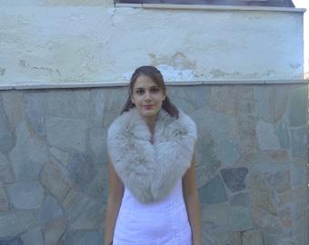 Fox fur collar, real fox fur collar.ivory color