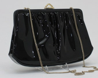 1b44ad636c9d Vintage Black Patent Leather Evening Bag by Mardane Shiny Gold   Black  Clutch Purse with Chain Handle