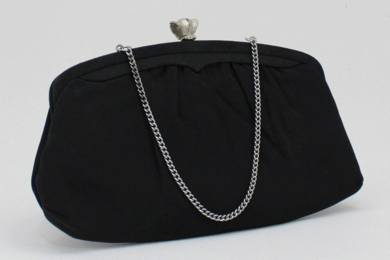 b8aebec8527f Vintage Black Evening Bag Matte Satin and Silver Clutch Purse