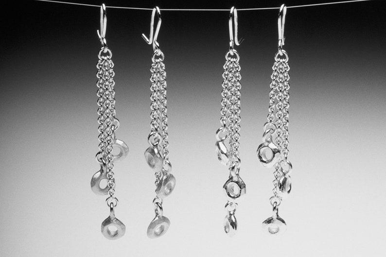 Chandelier Hooks Multi-Drop Silver Chain Earrings Long Silver Cascading Circle Drop Dangling Earrings Elegant Earrings Cocktail Party