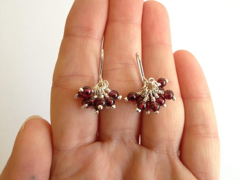 Mothers Day Hook Wire or Stud Earrings January Birthstone Garnet Silver Cluster Earrings Dangle Drop Earrings Gemstone Beaded Earrings