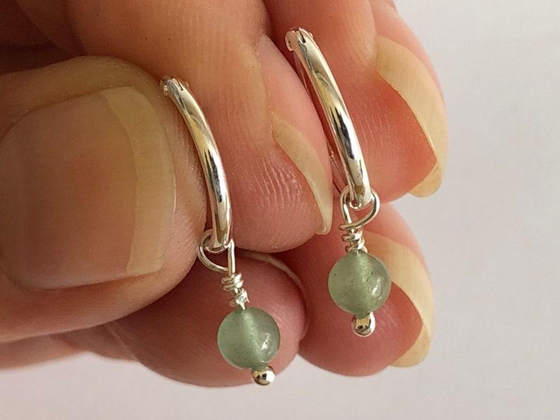 Aventurine Silver Hoop Earrings Dangling Drop Earrings image 0