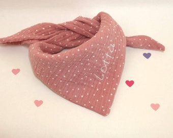 Muslin cloth for children, triangular cloth in many different colors with names