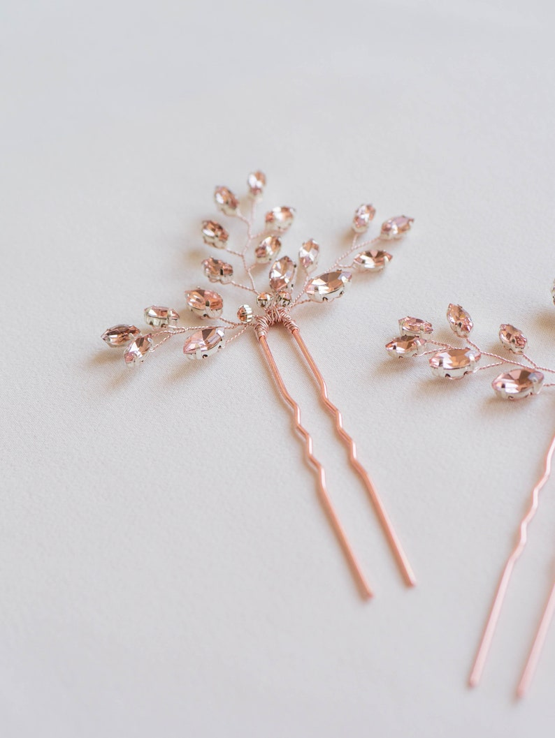 Rose Gold Hair Pin Wedding Hair Comb Wedding Hair Pin of Rhinestone Rose Gold Mia Bridal Hair Piece Wedding Hair Accessories Rose Gold