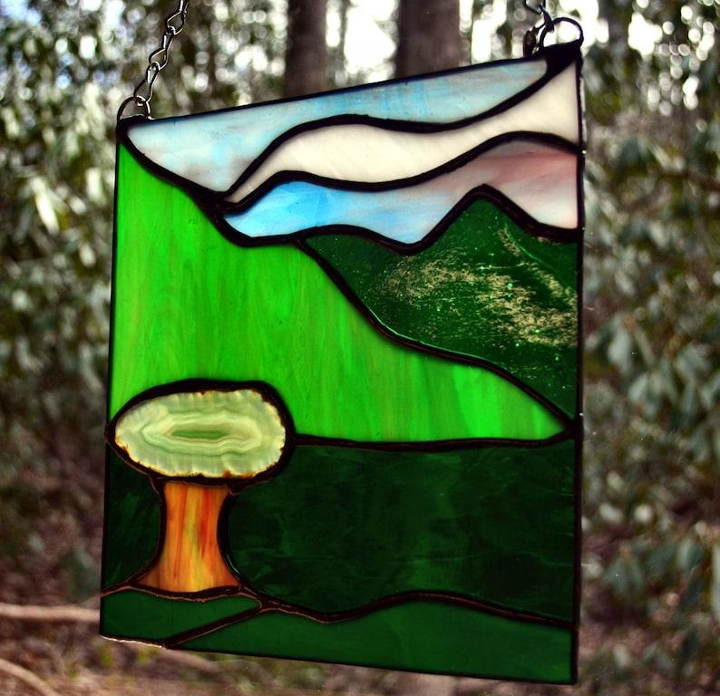 Stained Glass TreeNatureMountain Scene 8Wx8H Agate SunCatcher Panel