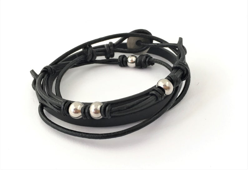 Christmas Gift Black leather Bracelet with solid Beats Women Wrap Bracelet Beaded Wrap Bracelet Gift for Her Wrap leather Bracelet