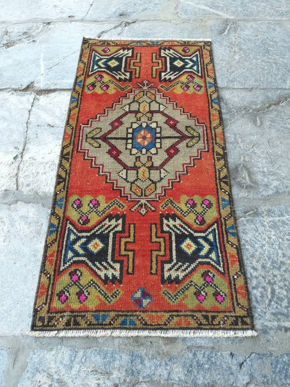 Mat Rug, Small Kitchen Rug, Small Rug, Entry Decor Rug, Door Mats Rug,  Vintage Oushak Rug, Oushak Rug, 1,7x3,4ft 51x105cm FREE SHIPPING!!!