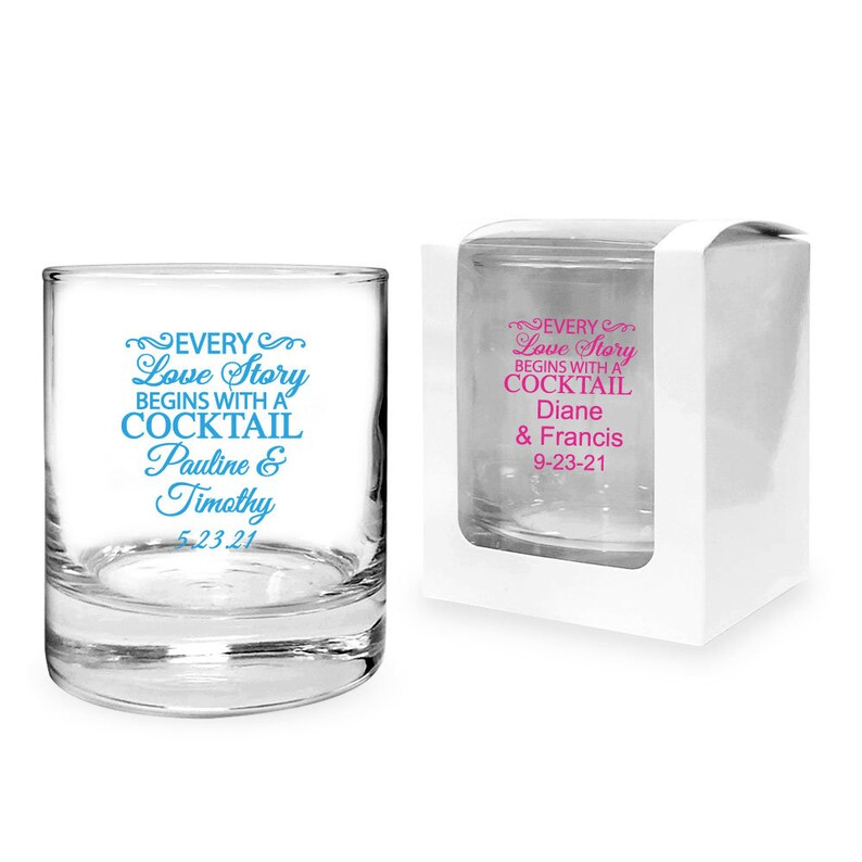 Every Love Story Begins With A Cocktail Custom Clear Rock or Whiskey Glass 24 pcs MAE73218B