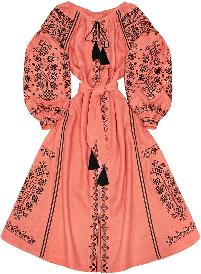 daa597f6812 Coral embroidered linen long dress 100% natural linen