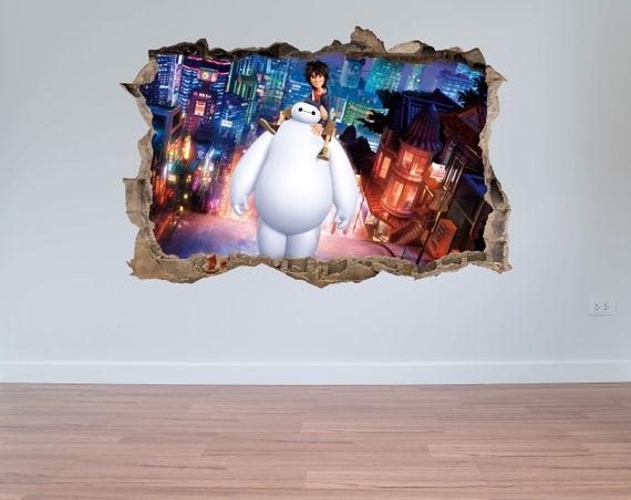 Big Hero 6 sticker, impression sur toile de Baymax, héros sticker muraux, sticker film, Art mural, cadeau de Noël, décoration d'intérieur, Geekery Art Print, mural