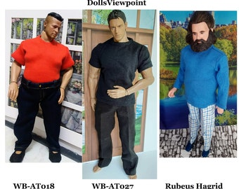 T-shirts short or long sleeve for WorldBox (AT018-plump and AT027 large muscles), Adonis, Hagrid action figures.  Several colors