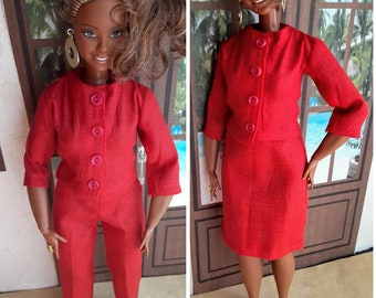 Curvy Barbie business suit 2 or 3 piece ensemble.  Available in several solid colors