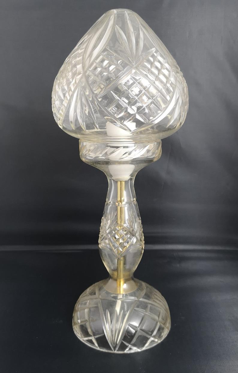 glass mushroom shade Vintage cut glass table lamp