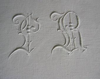d35f73a22dd12c Jugendstil-Leinen-Hochzeits-Bettüberwurf-Bettlaken, Relief-Monogramm