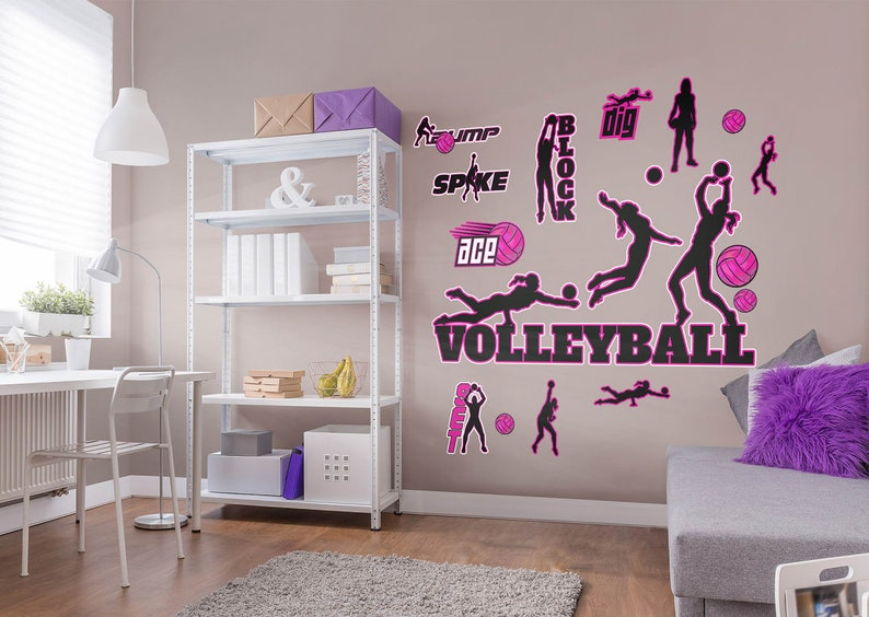 Fathead Volleyball Wall Decal Collection Large Removable Repositional Wall Graphics Girl's Bedroom Decor Best Volleyball Bedroom Decor