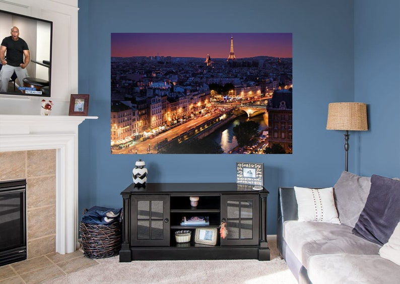 Fathead Paris Skyline By Night Mural Wall Graphic