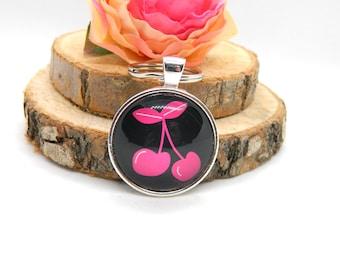 Keychain Cabochon Pendant Keychain Rockabilly pink Cherry