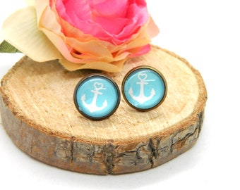 Stud earrings cabochon stud ring maritime studs anchor
