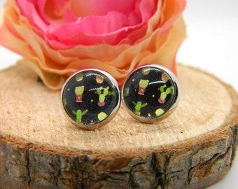 Cabochon stud earrings • earring • cactus • cabochon earring