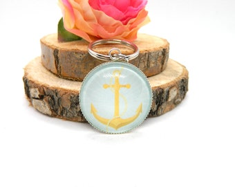 "Keychain Cabochon Pendant ""Anchor"""