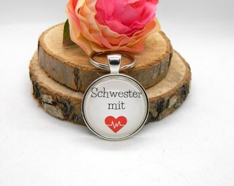 "Keychain Cabochon Pendant Keychain "" Sister with Heart "" Gift, Thank You"