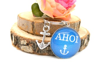 "Keychain Cabochon Pendant ""AHOI"""