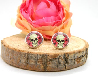 Cabochon stud earrings • earring • skull • skull cabochon earring