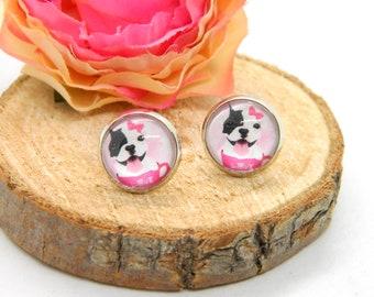 Cabochon stud earrings • earring • Frenchi• Cabochon earring