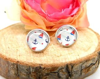 Cabochon stud earrings • earring • maritime cabochon earring