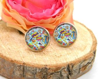 Cabochon stud earrings • earring • cabochon earring