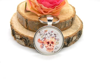 "Keychain Cabochon Pendant Keychain ""Skull"""