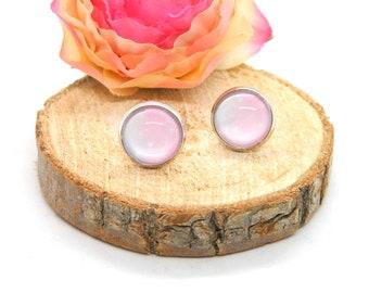 Cabochon stud earrings • earring • pink• cabochon earring