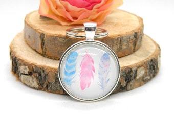 "Keychain Cabochon Pendant Keychain ""Feathers"""