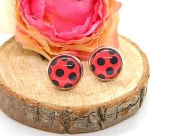 Cabochon stud earrings • earring •bug • ladybug cabochon earring