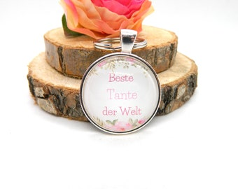 """Keychain Cabochon Pendant Keychain """"Best Aunt in the World"""""""
