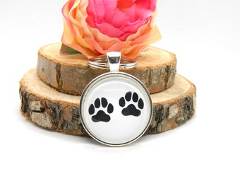 "Keychain Cabochon Pendant Keychain ""Paws"""