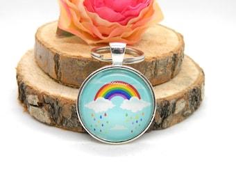 "Keychain Cabochon Pendant Keychain ""Rainbow"""