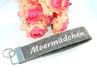 Keychain lanyard sea girl pendant felt