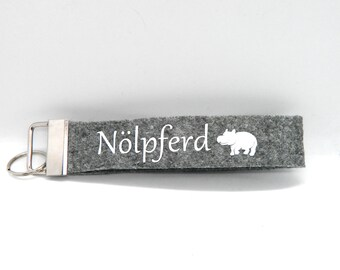 "Keychain lanyard felt pendant ""oil horse"" gift friendship"