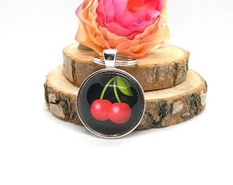 Keychain Cabochon Pendant Keychain Rockabilly Cherry