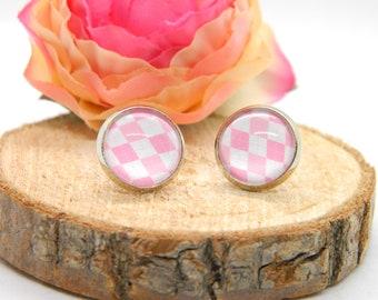 Cabochon stud earrings • earring • pink • cabochon earring