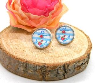 Cabochon stud earrings • earring • anchor • maritime cabochon earring