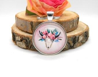 Keychain Cabochon Pendant Keychain Deer Pink