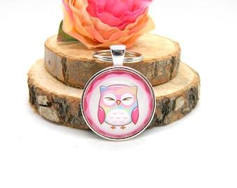 Keychain Cabochon Pendant Keychain Owl Pink