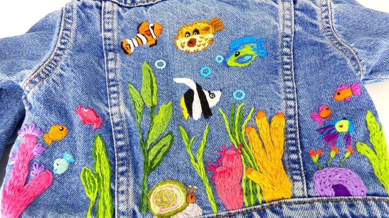 Levi Strauss Hand Designed Embroidered Underwater World Aquarium Baby Jean Jacket Lots Of Sweet Fishes Coral And Bubbles Size 24 Months