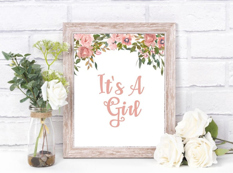 Floral baby shower IT/'s A Girl Wall decor Floral Wall Decor Mommy to be Baby Shower Decor Nursery decor Baby Girl Shower Baby Girl